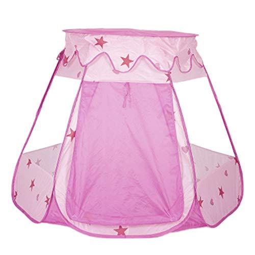 Tienda para niños Piscina de Bolas hexagonales con Cubierta Bebé Plegable Casa de Juegos para Interiores y Exteriores Castillo de la Princesa (Rosa)