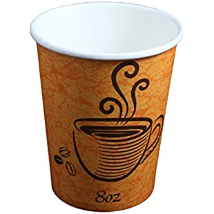 Disposable Paper Hot Coffee Tea Drinking Cups 8oz - 228ml (100 Pack):Shizuku7148