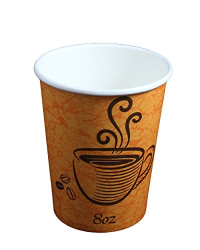 Disposable Paper Hot Coffee Tea Drinking Cups 8oz - 228ml (100 Pack)