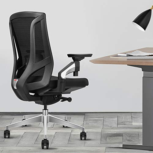 Ergonomic Mesh Office Chair with Tilt Restriction Device | 4D Adjustable Armrest | Adjustable Lumbar Support | Standard Carpet Casters | 360-degree Rotatable Computer Chair