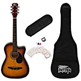 Intern INT-38C-SB-G Cutaway Right Handed Acoustic Guitar Kit, With Bag, Strings, Pick And