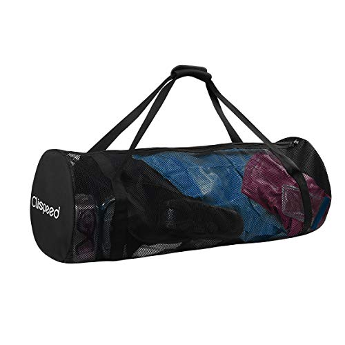 CLISPEED Mesh Duffle Bag Extra Large Dive Gear with Zipper for Diving Swimming Travelling Beach Sports Equipment