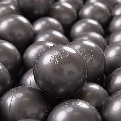 KiddyMoon 200 ∅ 7Cm Balles Colorées Plastique pour Piscine Enfant Bébé Fabriqué en EU, Argenté