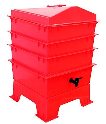 Original Organics Pet & Dog Poo Wormery/Composter, 3 Trays Compost Bin, Red - 5 Year Warranty