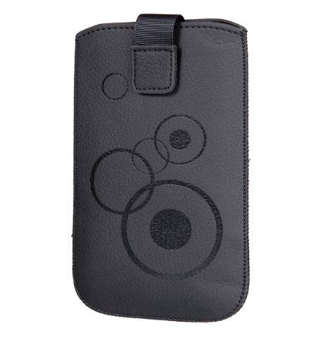 Handytasche Circle für Nokia Lumia 630 Dual Sim Handy Tasche Schutz Hülle Slim Case Cover Etui schwarz mit Klettverschluss