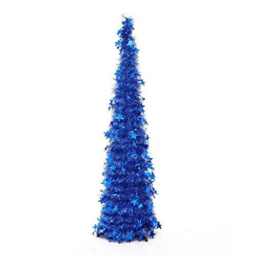Zinsale 150cm / 5Ft Pop-Up Sapins de Noël Artificiel Crayon Pliable Arbres De Noël Mince Arbre De Noël Artificiel Sequin Tinsel Arbre De Noël Côtier avec Support en PVC (Bleu)
