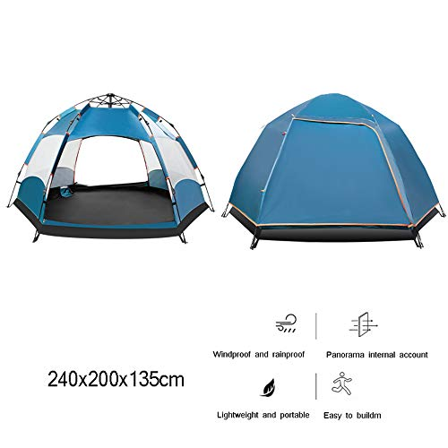 Dome Tents Automatic Pop-Up Tents Hexangular Hydraulic Double Layer Tent - Waterproof with Porch - 100% UV Protected Outdoor Ultralight Camping Tent with Carrying Bag