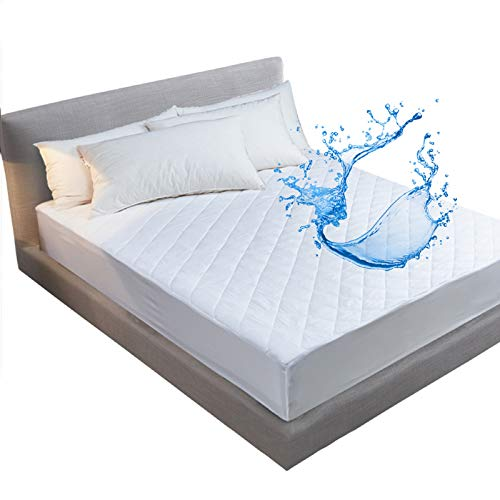 ele ELEOPTION Waterproof Mattress Protector Quilted Fitted Mattress Topper Hypoallergenic Mattress Pad Anti-Allergy & Breathable Mattress Cover Filling All Uk Bed Sizes(White, 150x200+30cm)