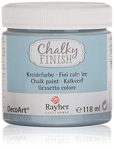 Rayher 38867566 Chalky Finish auf Wasser-Basis, Kreide-Farbe für Shabby-Chic-, Vintage- und Landhaus-Stil-Looks, 118 ml, blaugrau