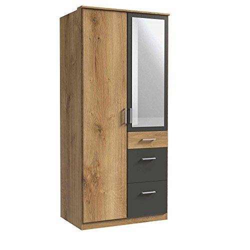 lifestyle4living Kleiderschrank, Planken-Eiche Dekor, Graphit-Grau,90 cm   Drehtürenschrank mit 2 Türen, 3 Schubladen, 1 Kleiderstange, 3 Einlegeböden im modernen Stil