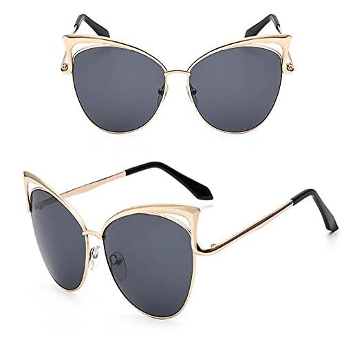 Gafas De Sol Ojo De Gato Gafas De Sol De Lujo para Mujer Diseñador De Marca Espejo De Doble Haz para Hombre Gafas De Sol Vintage Mujer Uv400 Gris