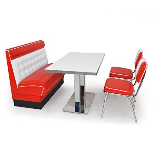 möbelland24 American Diner Sitzgruppe: Sitzbank Chicago 120cm + Diner Tisch + 2X Retro Stuhl