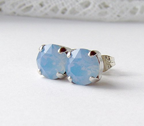 8mm Air blue opalescent rhinestone stud earrings made with Swarovski crystals