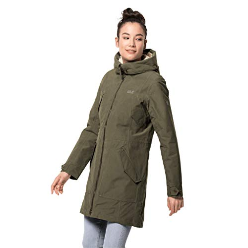 Jack Wolfskin Damen ROCKY POINT PARKA wasserdichte Winterjacke, Granite, L