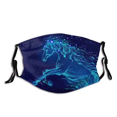 Máscara anti lavable del pasamontañas del polvo del cielo de la noche que brilla intensamente azul, Blue Glowing Horse Riding Night Sky, 5.9x7.9 Inch
