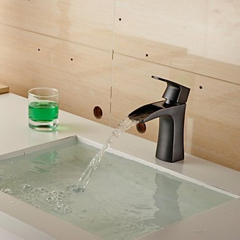 XTXWEN Water-tap Basin Faucets Contemporary Oil Paintings, Copper Sink Faucet (Short) -Black