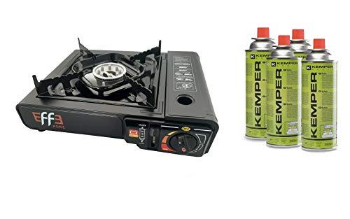 EFFE Kit FORNELLO Campeggio + 4 CARTUCCE - Fornello da Campeggio in Valigetta Portatile + 4 Cartucce Gas Orizzontale gr 220