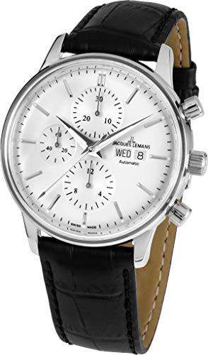 JACQUES LEMANS Herrenuhr Retro Classic Valjoux Lederarmband massiv Edelstahl Chronograph Big Date N-208A