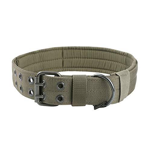 EXCELLENT ELITE SPANKER 1.5' Width Military Dog Collar Adjustable Metal D Ring & Buckle Working Dog Collar for Medium Large Dogs(Ranger Green-XL)