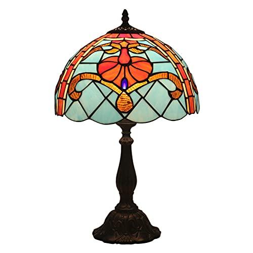 GAUUA Lámpara de Mesa mediterránea Tiffany Rose Lámpara de cabecera 12 Pulgadas de Vidrio Manchado Hecho a Mano para salón Salón Dormitorio Salón Nightstand