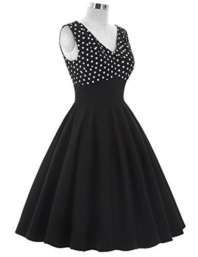 50s Kleid Partykleid A-Linie Picknick Kleid Knielang Casual Kleid M BP093-1 - 4