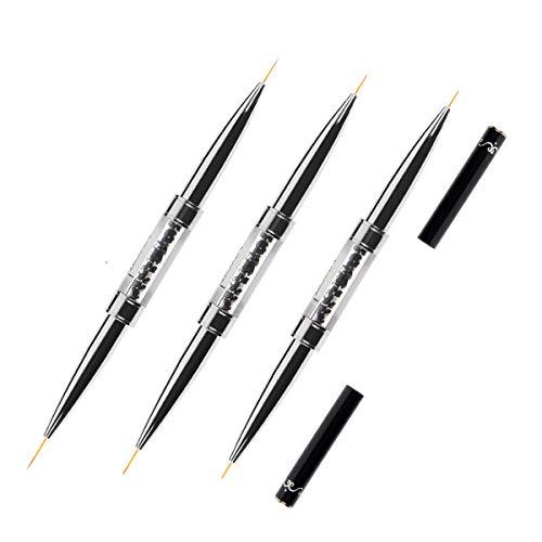 BQAN Double Ended Nail Art Liner Brush Set UV Gel Painting Acrylic Nail Design Nylon Brush Pen Set Nail Striping Brushes Stripe Acrylic Set with Multiple Sizes 5mm/7mm/9mm/11mm