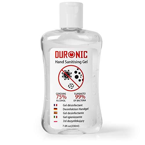 Duronic S230ML Gel desinfectante de manos bote de 230 ml - Formato de bolsillo - 75% de alcohol - Mata hasta el 99,9% de las bacterias - Gel antibacterias de secado rápido sin olor