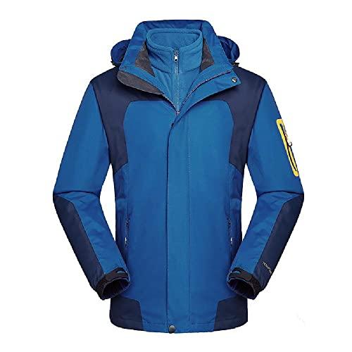XIAOJU Chaqueta Cortavientos para Hombre Cortavientos con Capucha Chaquetas de Aviador Chaqueta de esquí de montaña Cortavientos Ligero Informal,Blue-4XL