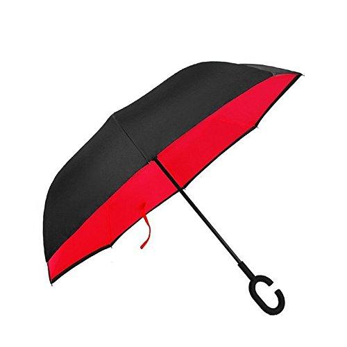 TRADE® Double couche Inverser Inversé Parapluie Résistant au Vent Anti-ultraviolet Parapluie pliant C Type Antidérapant Poignée en Caoutchouc Voiture Utilisation-rouge