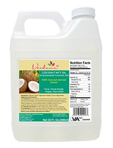 Verdana Coconut MCT Oil, Fractionated, Genuine 100% Coconut Derived,Kosher Certified Food Grade, Vegan, NON-GMO, Great for Keto and Paleo Diet (32 Oz)