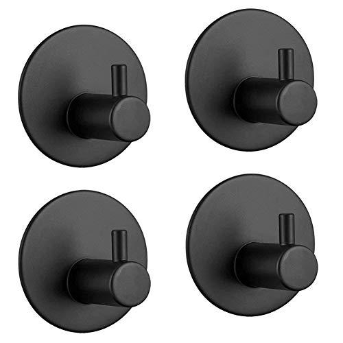 Cicony Badetuchhaken, 4er-Set Adhelsive Hook Wandhaken aus Edelstahl für Badezimmer Toilette Küche