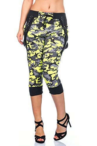 Crazy Age Camouflage Jogginghose Capri Damen Shorts Boyfriendhose Bagyyhose mit Hosentäger (Neongelb, M)