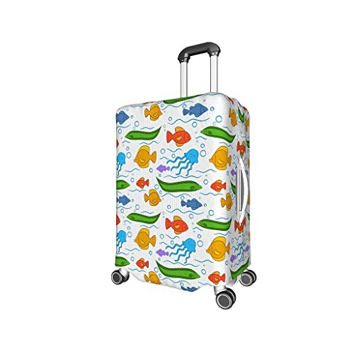 Original Luggage Cover Underwater Fish Washable Protective Suitcase Cover Travel Elastic Suitcase Protector Fits 18 to 32 Inch Luggage white l (25-28 inch)