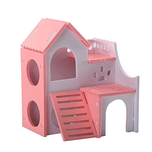 Hamster Haustierkleintierhaus aus Holz Ratte Hideout Gerbil Hut Hideaway Übung spielen Spielzeug Cages Pens (Farbe: Blau, Größe: 15x14x18cm) ZHANGKANG (Color : Blue, Size : 15x14x18cm)
