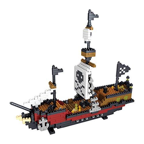 BGOOD Juego de construcción de barco pirata, 780 bloques de construcción, velas, arquitectura 3D Nano Micro Blocks, juguete de construcción para niños y adultos, no compatible con Lego