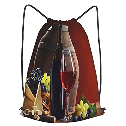 AndrewTop Mochilas de Cuerdas Unisex,composición de vino tinto,Impermeable Mochila con Cordón,adulto Niños exterior Mochilas Casual,yoga Bolsas de Gimnasia