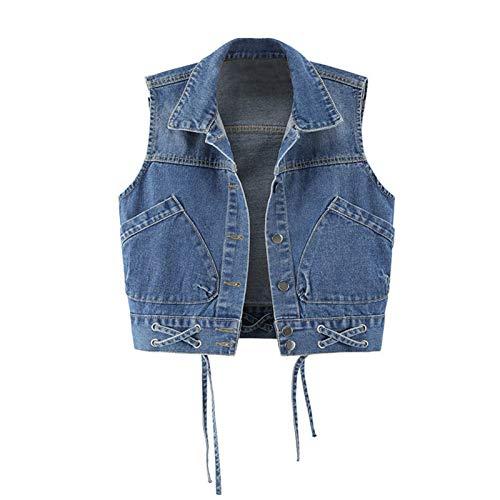 Alavo Chaleco corto de mezclilla para mujer, chaleco corto sin mangas con tiras, ropa exterior informal deportiva, azul oscuro, XXXL