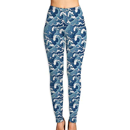 Irener Yoga-Hosen-Sport-Trainingsgamaschen Japanese Blue and White Wave Provide Women with High-Waisted, Ultraweiche leichte Gym Yoga Leggings