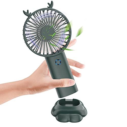 Mini Ventilatore Portatile USB Alimentato a Batteria, Duoai 4000mAh Portatile Ricaricabile Piccoli Ventilatori Personali Silenziosi Base 5 Velocità Bambini Donna Trucco Viaggi All'aperto, Verde Scuro