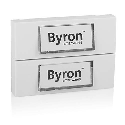 Byron 7750/2 bedrade dubbele universele belknop in wit met beschrijfbaar naamplaatje,