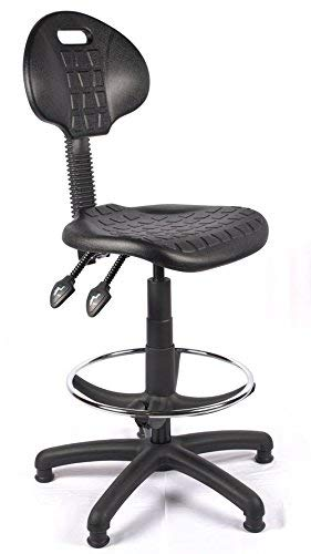 Bude Polyurethane Draughtsman Chair, Wipe Clean, PU High Chair, Lab Chair, Industrial Chair from Relax Office