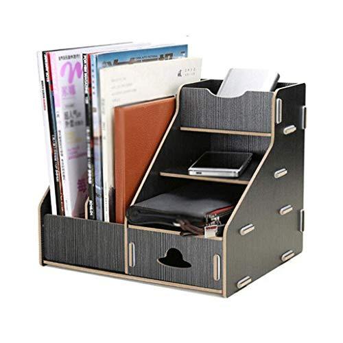 Archivadores de revistas Organizador de escritorio Archivo, Oficina Caja de almacenamiento de escritorio del archivo del compartimiento, de madera, CD estante for documentos en papel A4 Magazine (Colo