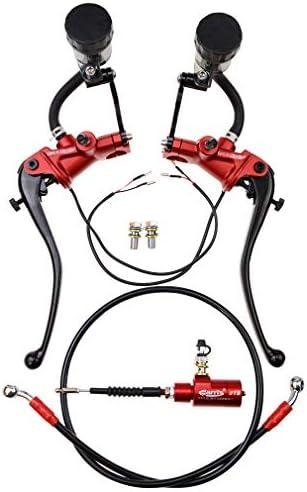 GOOFIT Rouge 22mm 78avec interrupteur moto modifi 233;e ma 238;trecylindre de frein hydraulique pompe224; embrayage levier avec r 233;servoirs de fluide remplacement pour moto ATV Quad Pit Dirt Bike