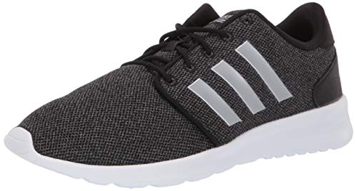 adidas Women's Cloudfoam QT Racer Running Shoe Sneaker, Black/Silver Metallic/Grey, 10 M US