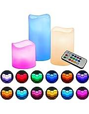 Velas LED sin llama,DEKITA Velas Decorativas Grandes con Control Remoto de 18 Teclas con 12 Colores Múltiples Preestablecidos,Temporizador de 4/8, Impermeables y Bateria Cargada,Parpadeo de Llama, Uso en Interiores y Exteriores(3PCS)