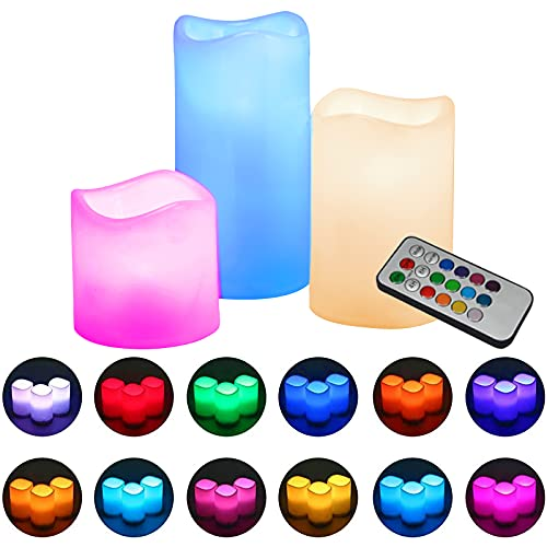 Velas LED sin llama,DEKITA Velas Decorativas Grandes con Control Remoto de 18 Teclas con 12 Colores Múltiples Preestablecidos,Temporizador de 4/8, Impermeables y Bateria...