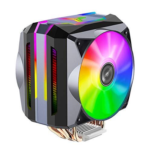 Syan Radiador de CPU de 6 Tubos de Calor con Ventiladores Dobles, radiador de CPU de 12 V con 4 Cuentas de lámpara de Colores de Alto Brillo, Adecuado para Intel LGA775 / 1150/1151/1155/1156