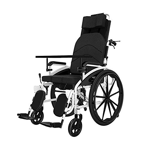 Recliner Wheelchair, Reclining Wheelchair, With 18 Inch Quick Release Sports Wheels High Backrest Breathable Cushion Seat Width, for The Elderly/Fractures