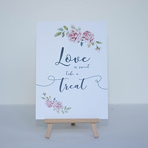 Luck and Luck White Boho Love is Sweet card and easel Wedding Sweet Candy Bar Sign
