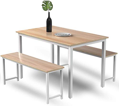 LinkRomat Modern 3 Piece Set with 2, Breakfast Nook Table, Solid Pine Wood Tabletop and Benches for Home Kitchen Dining Room Furniture, Beige